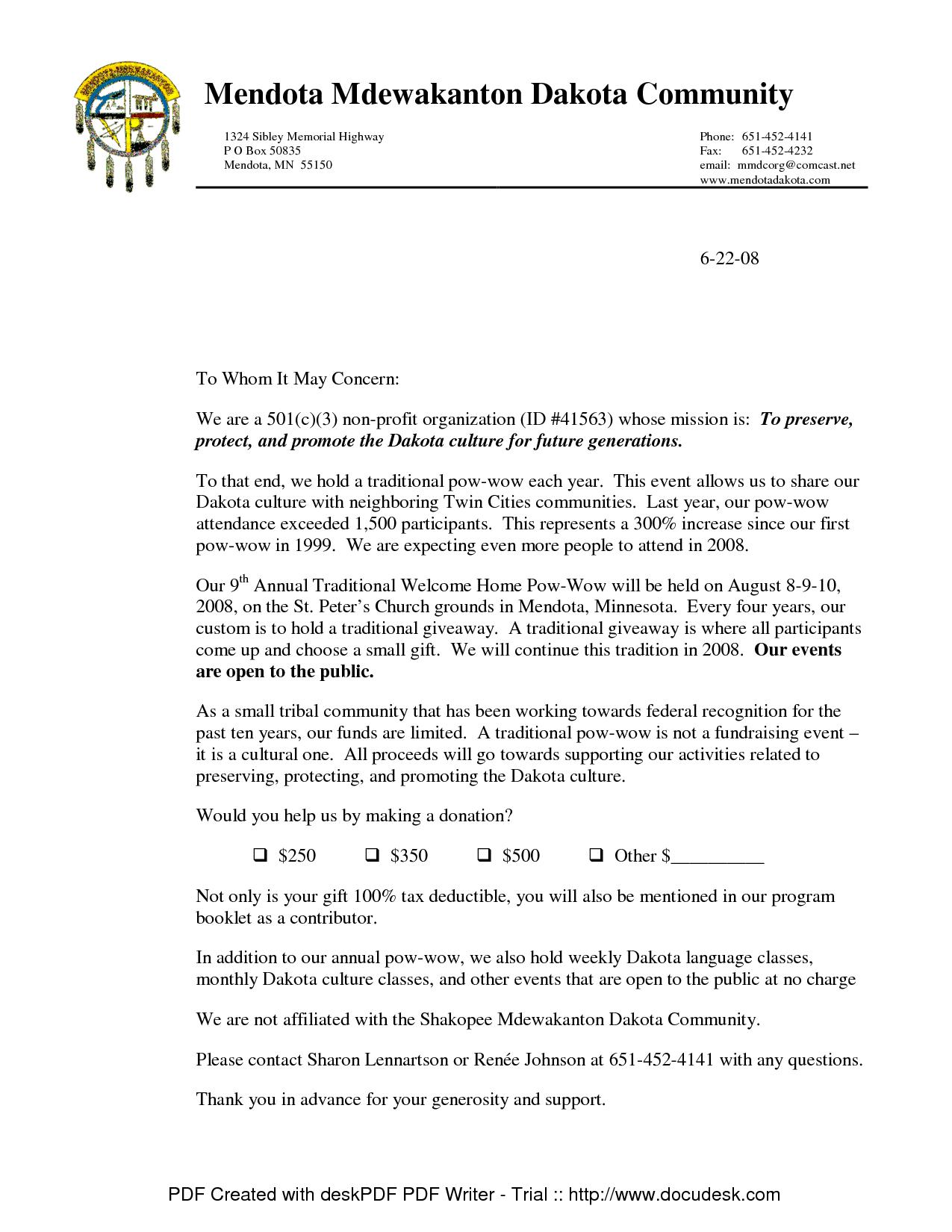 Non Profit Donation Template Letter