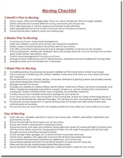 Office Relocation Office Moving Checklist Template