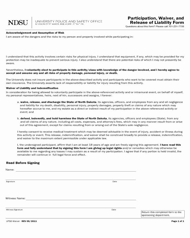 Participation Waiver Template