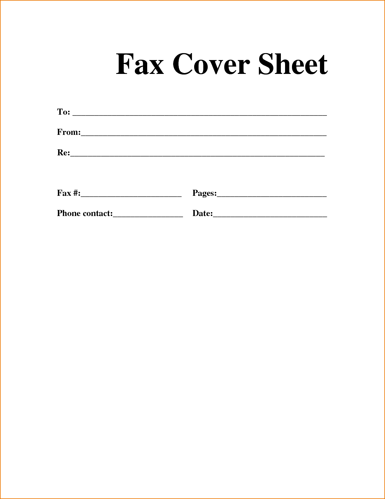 Printable Fax Cover Letter Template Free