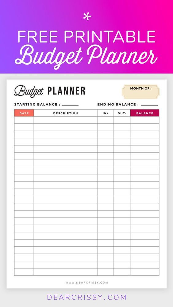 Printable Free Budget Planner Template