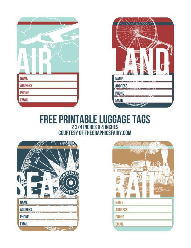 Printable Vintage Luggage Tag Template