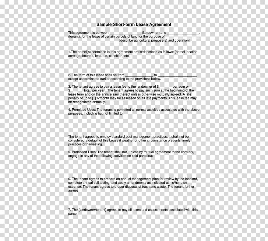Rental Agreement Renting Lease Template