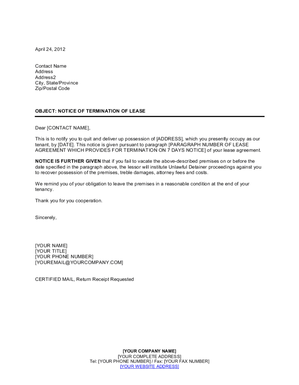 Rental Contract Termination Letter Template