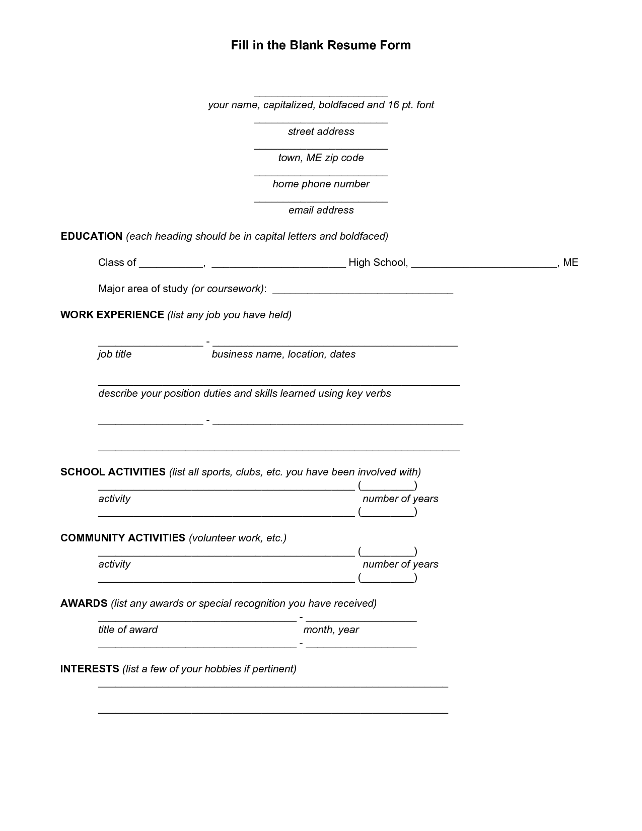Resume Fill In Template