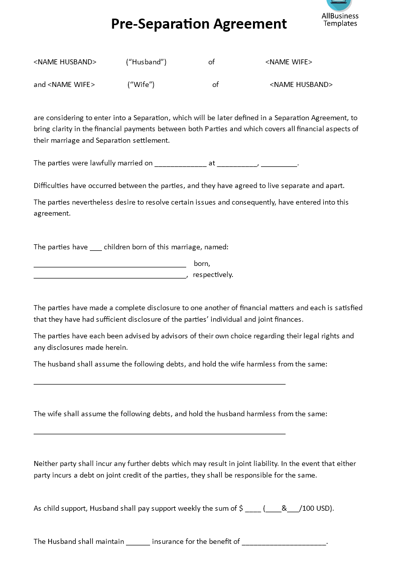 Separation Agreements Template