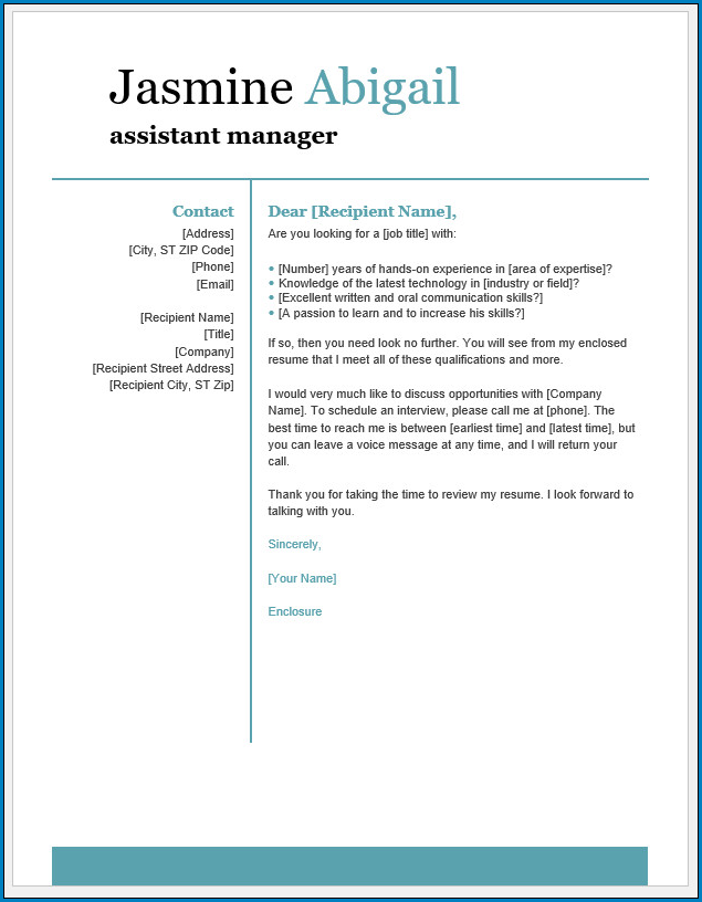 Simple Printable Cover Letter Template