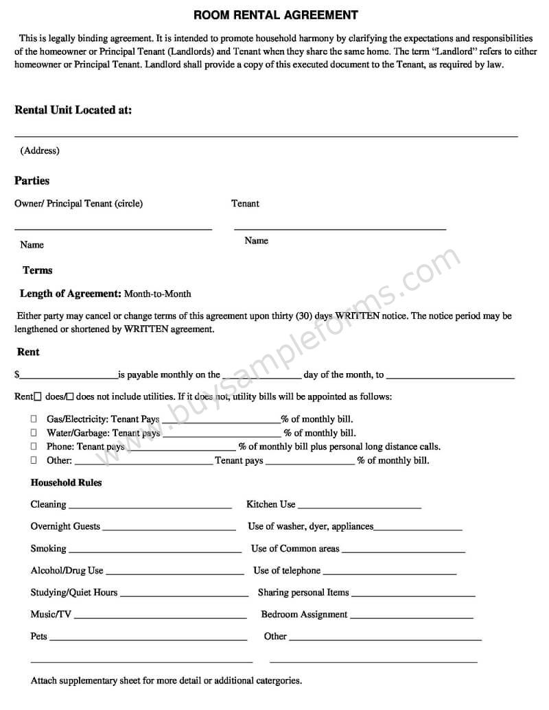 Simple Room Rental Agreement Template Word Doc