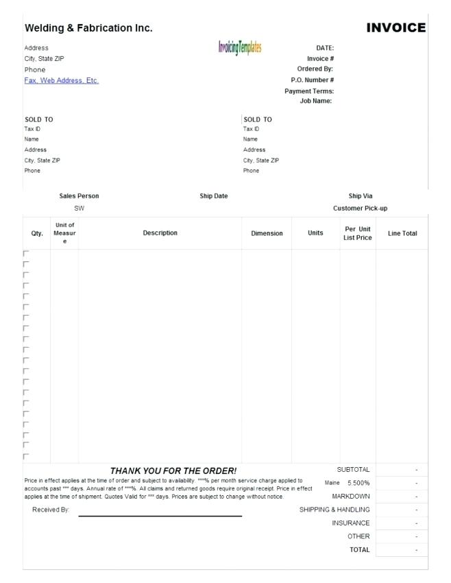 Sole Trader Free Invoice Template Uk
