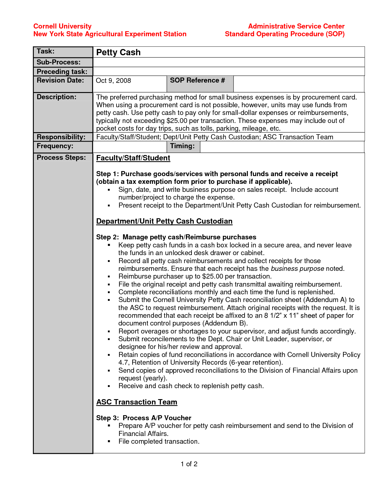 Standard Operating Procedure Sop Template Doc
