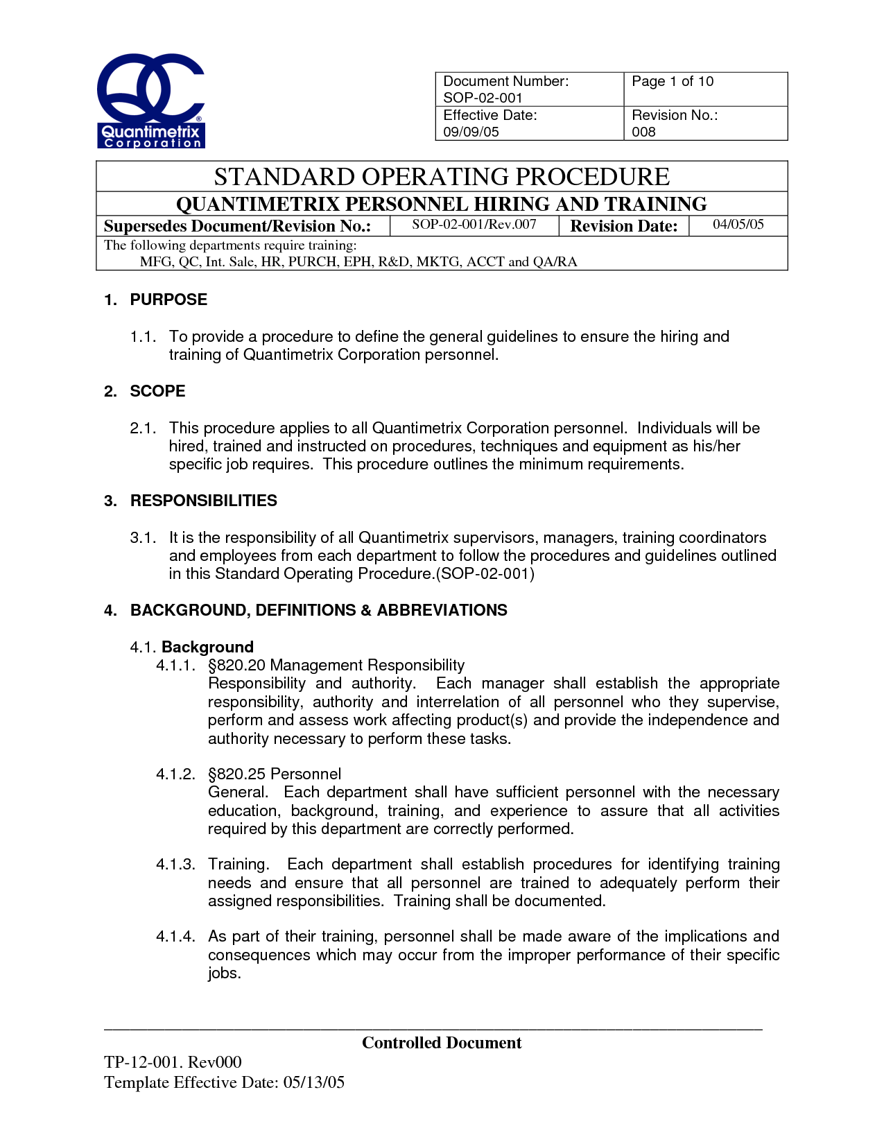 Standard Operating Procedure Sop Template