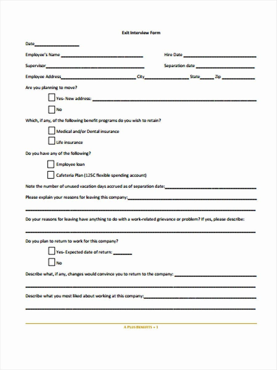 Template Employee Exit Interview Form