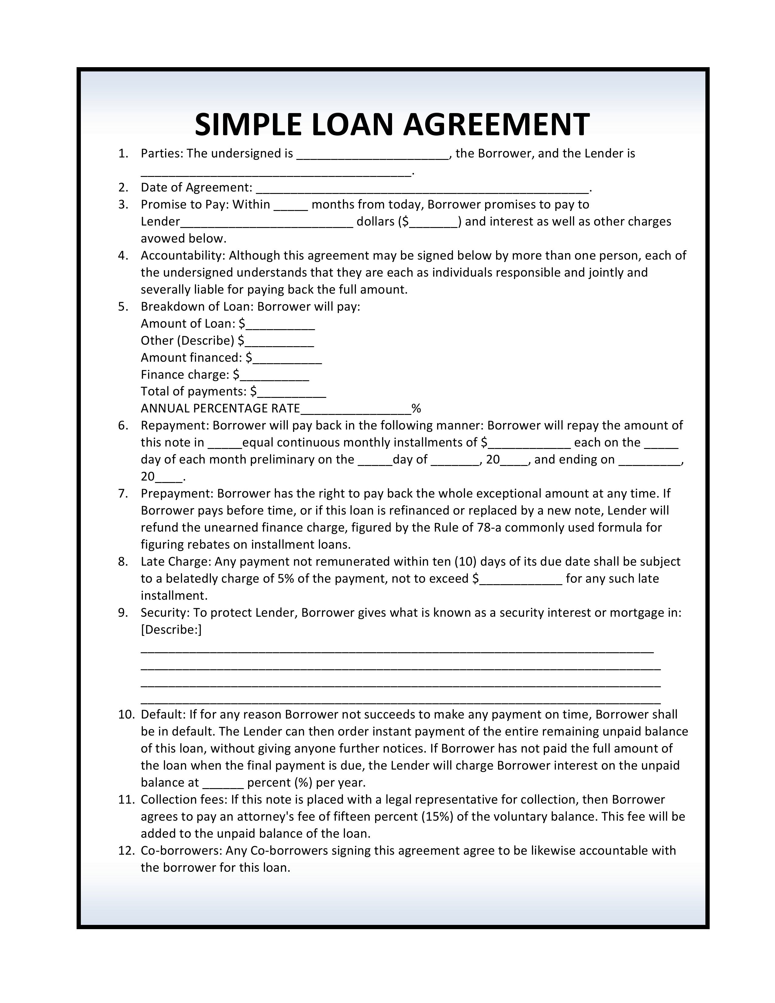 Template Free Simple Personal Loan Agreement Template