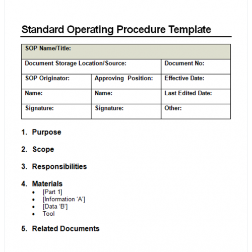 Template Standard Operating Procedure Sop Format