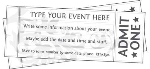 Ticket Templates Free Printable