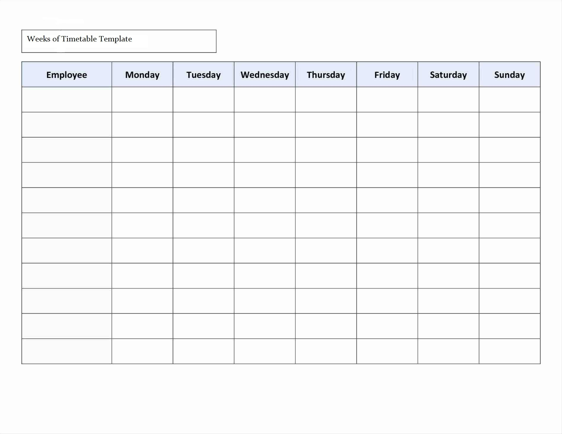 Timetable Schedule Template Excel