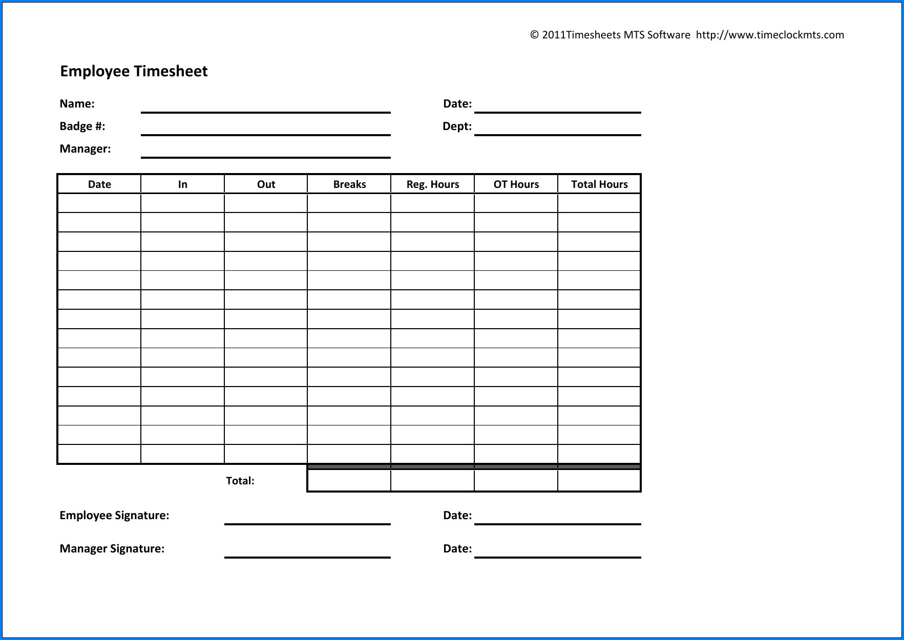 Weekly Job Timesheet Template