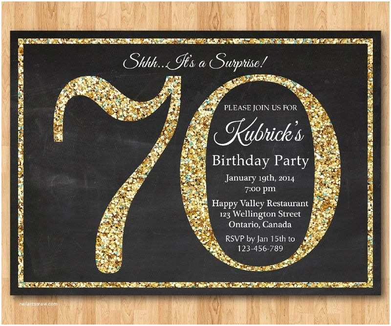 70th Birthday Party Invitations 70th Birthday Invitation Gold Glitter Birthday Party