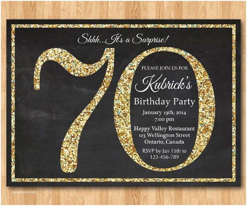 70th Birthday Party Invitations 70th Birthday Invitation Gold Glitter Birthday Party