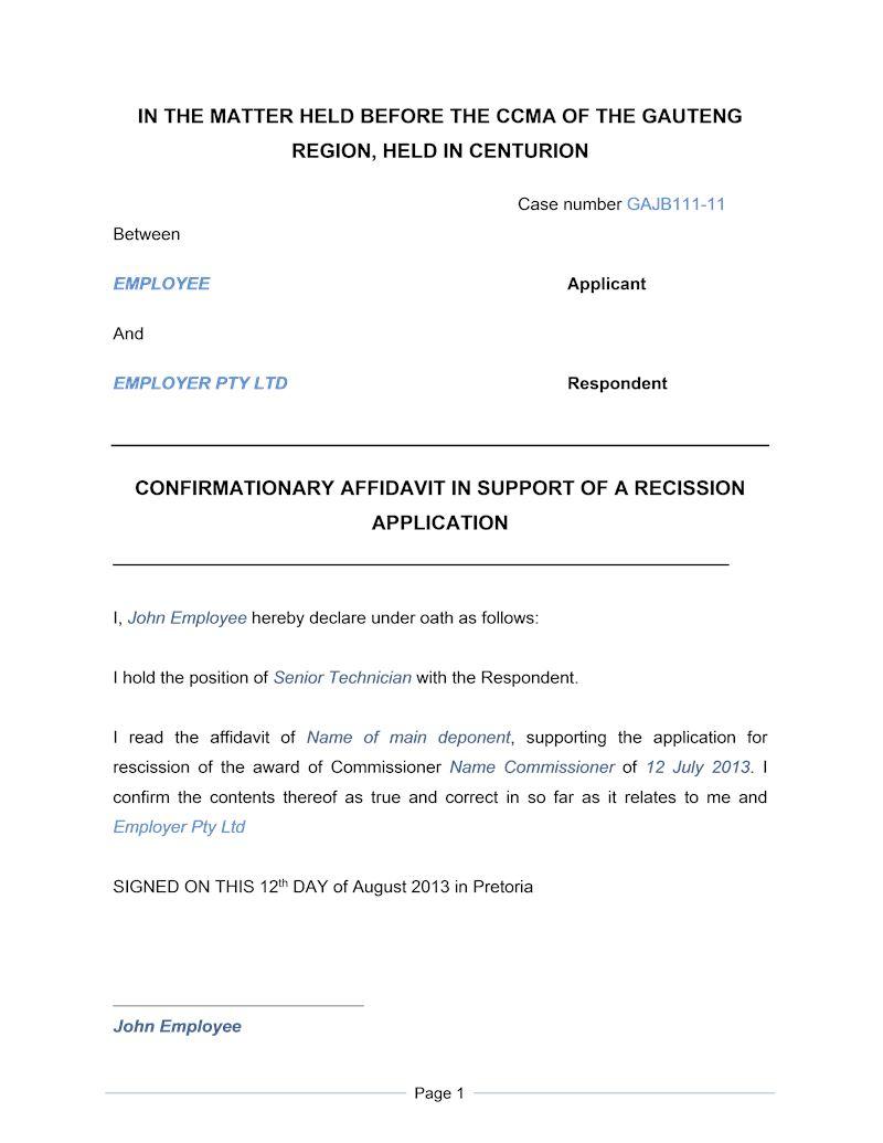 Affidavit Template South Africa Word Document