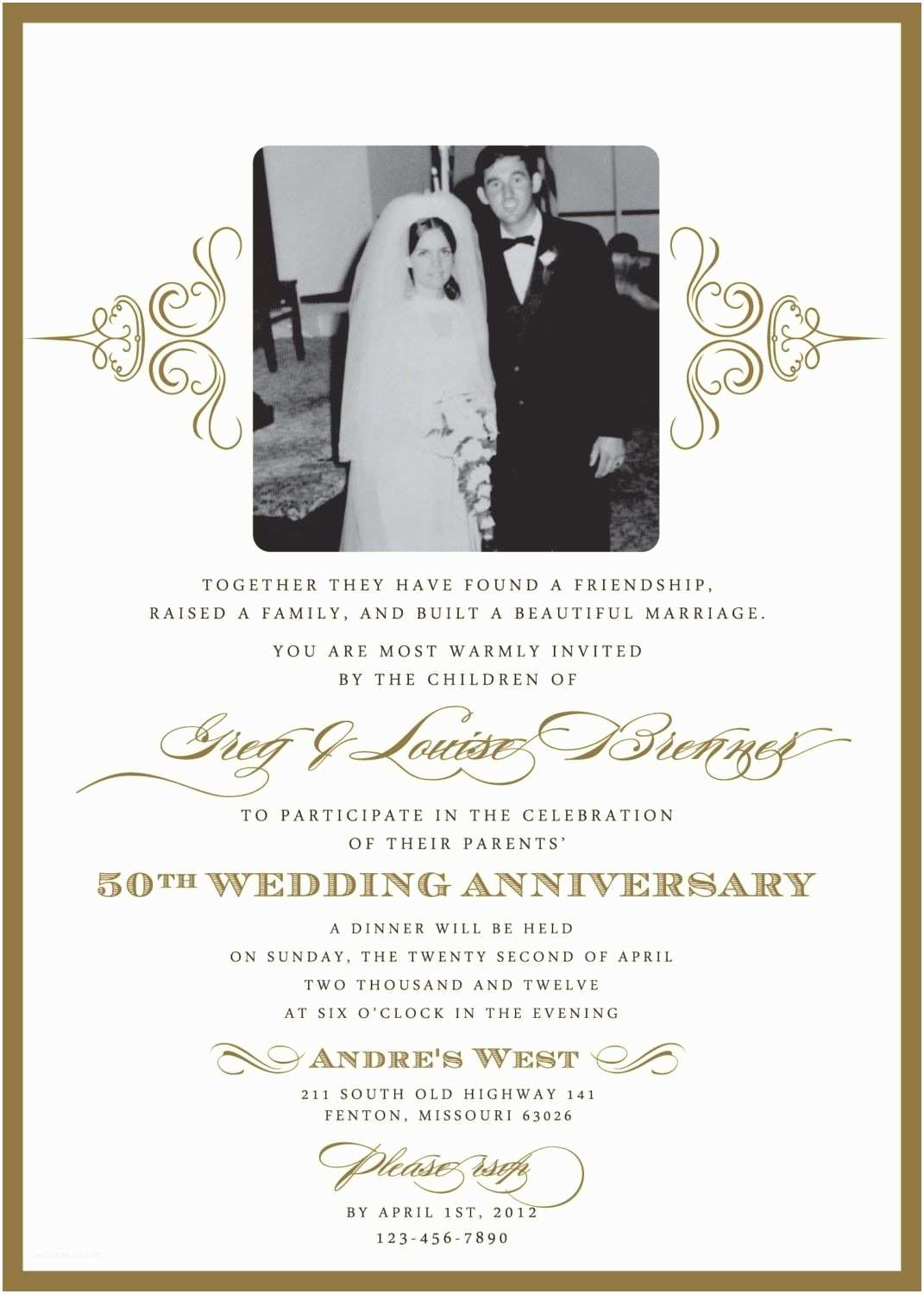 50th Wedding Invitation Templates 60th Wedding Anniversary Invitation Wording Samples