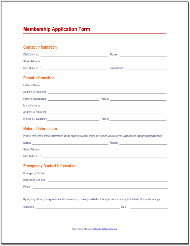 Application Form Youth Club Membership Form Template