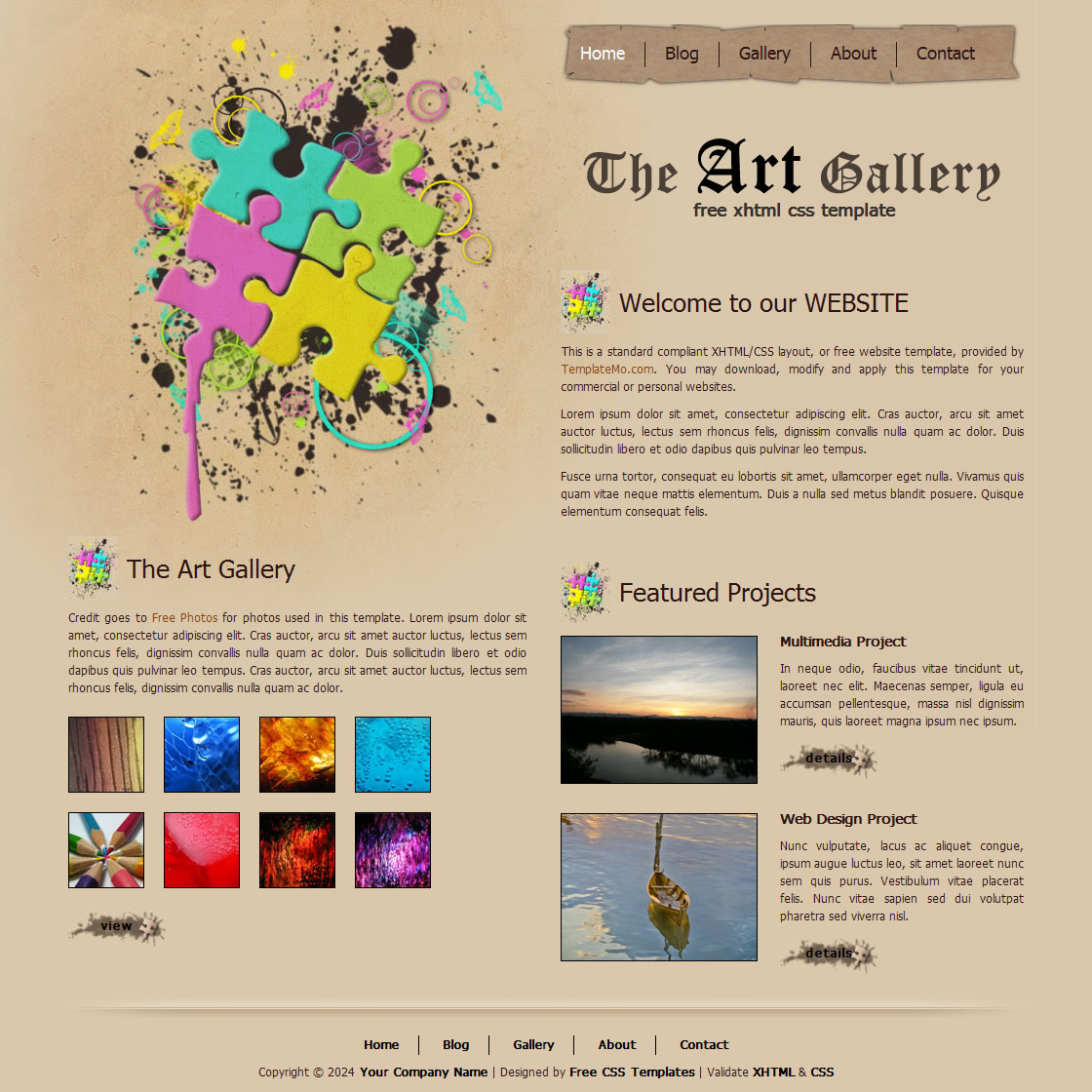 Art Gallery Websites Templates