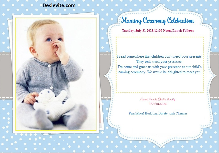 Baby Boy Naming Ceremony Invitation Template