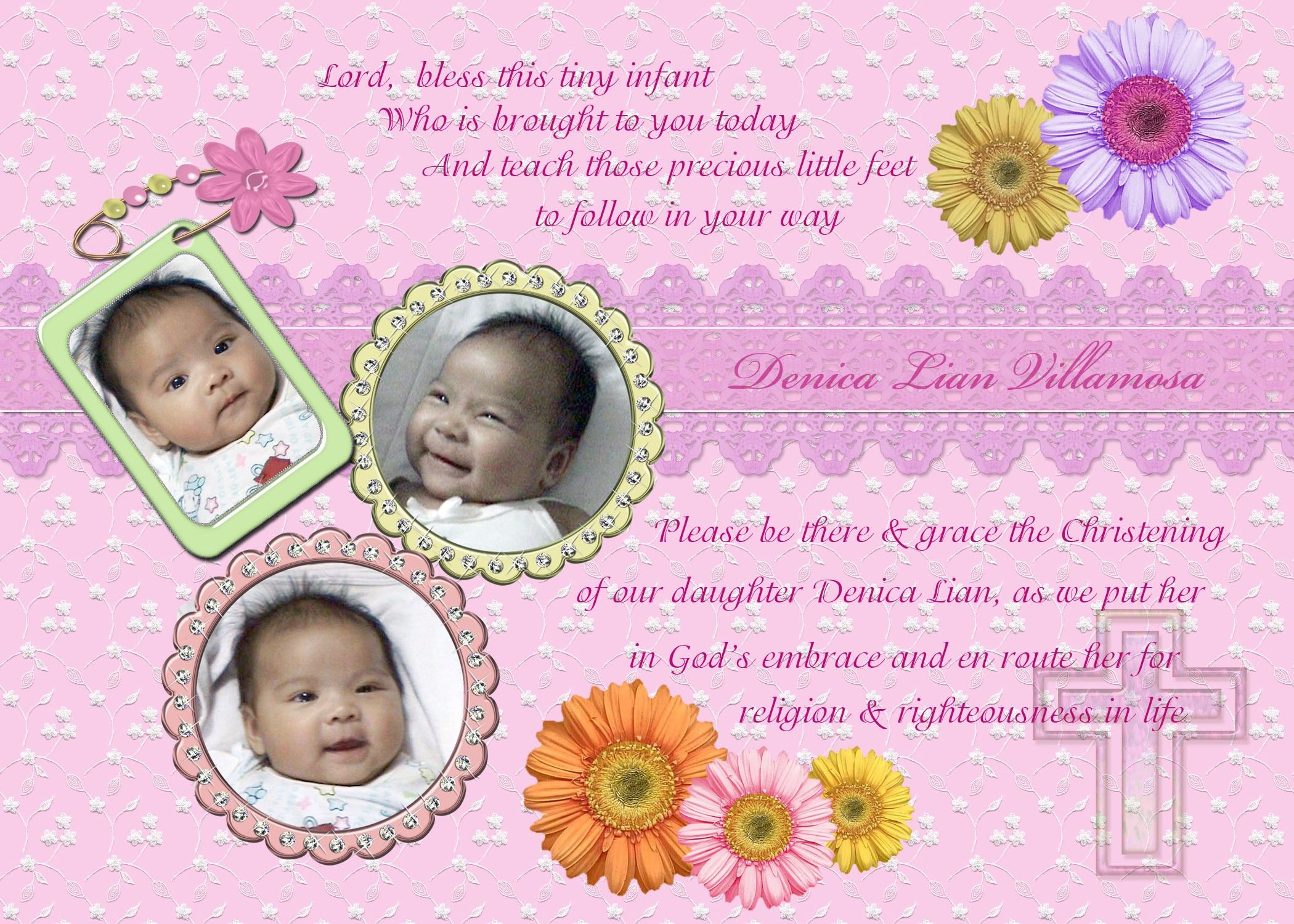 Baby Girl Dedication Invitation Template