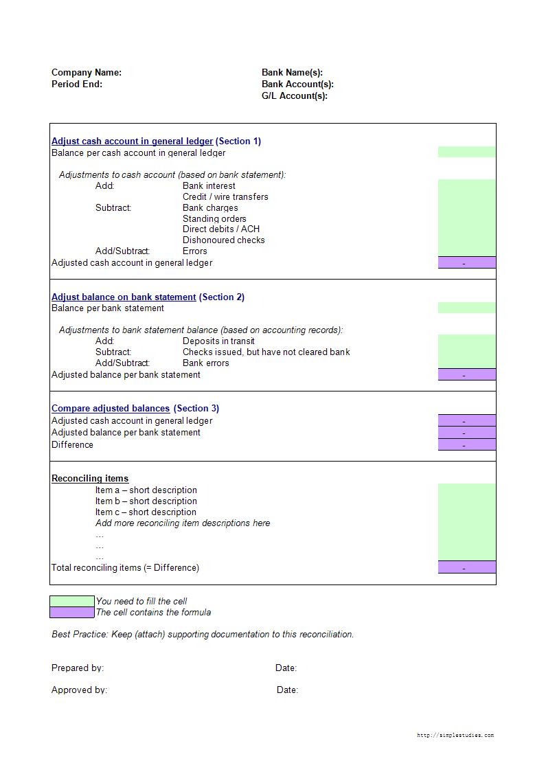 Bank Reconciliation Template Excel