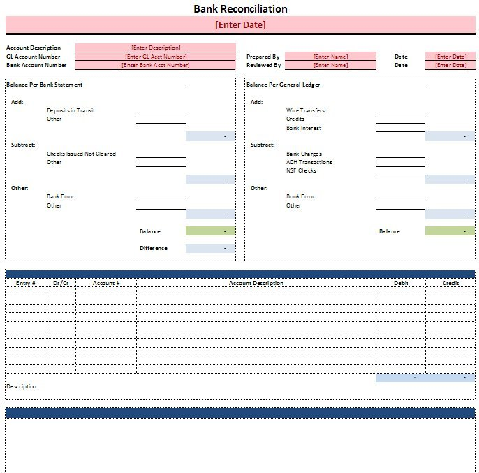 Bank Reconciliation Templates