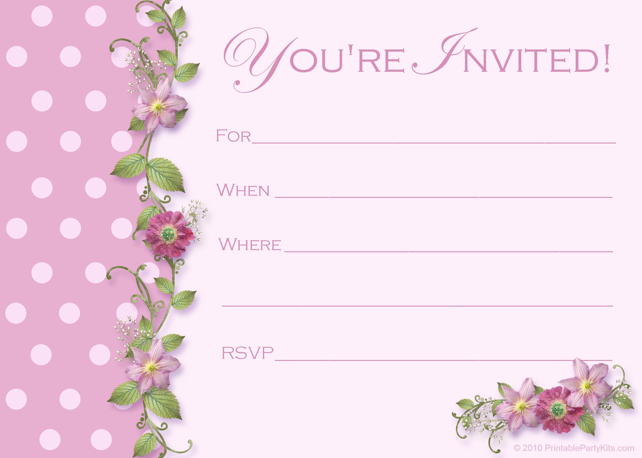 Blank 40th Birthday Invitation Templates