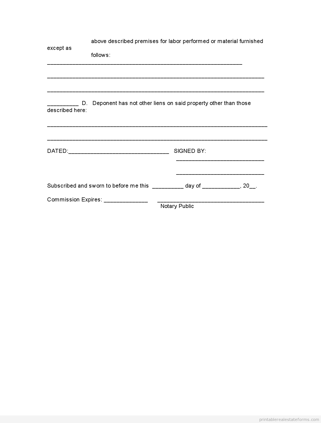Blank Word Affidavit Template