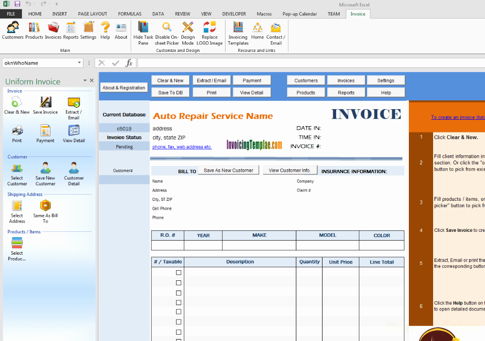 Car Service Invoice Template Free Download