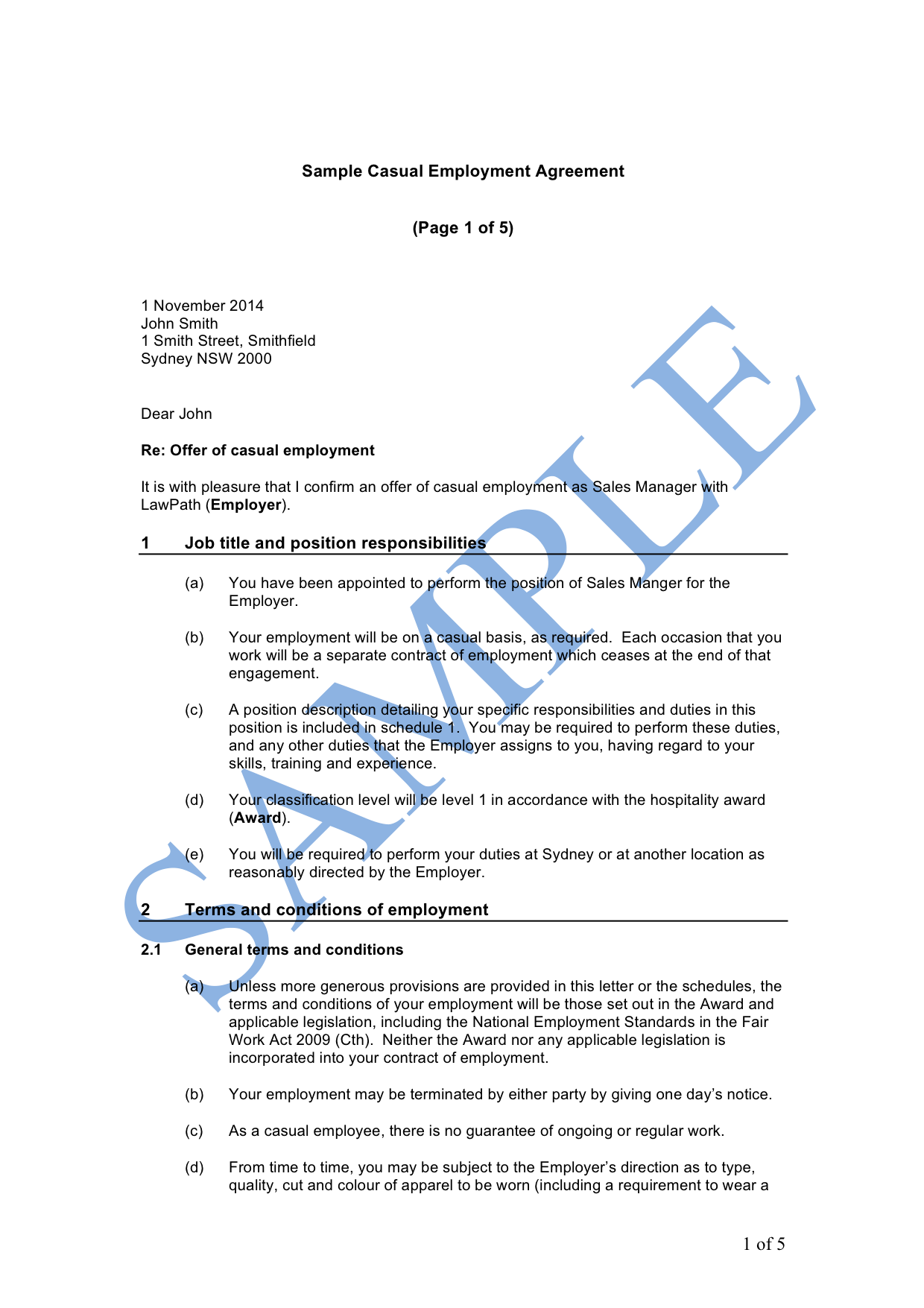 Casual Employment Contract Template Wa