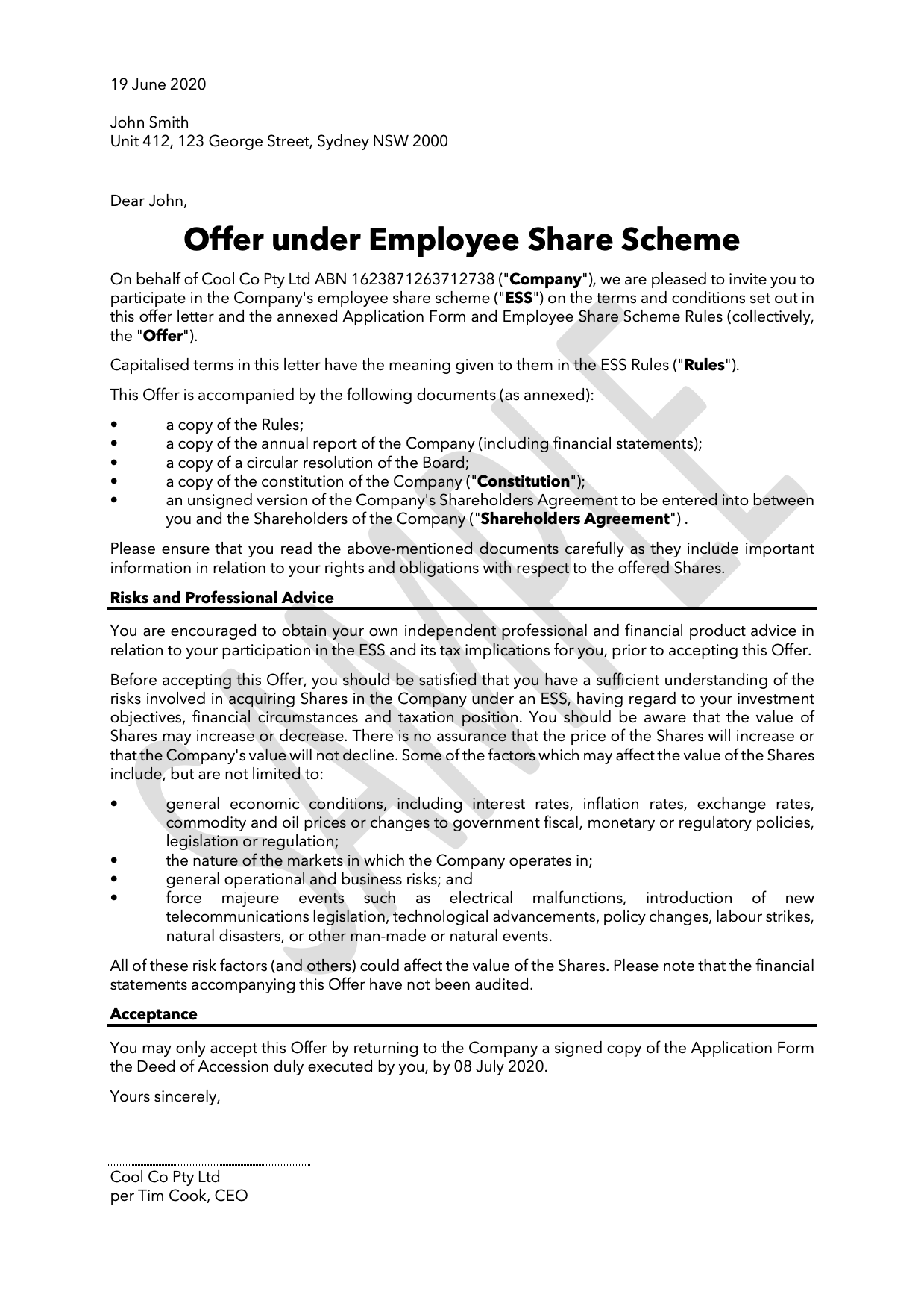 Ceo Employment Contract Template Australia