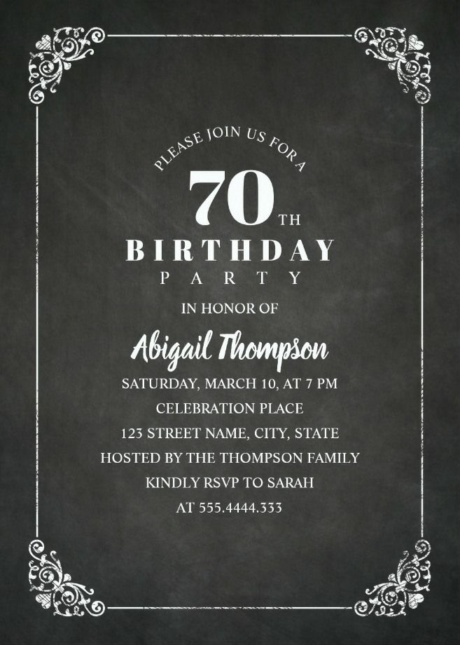 Classy 70th Birthday Invitation Template