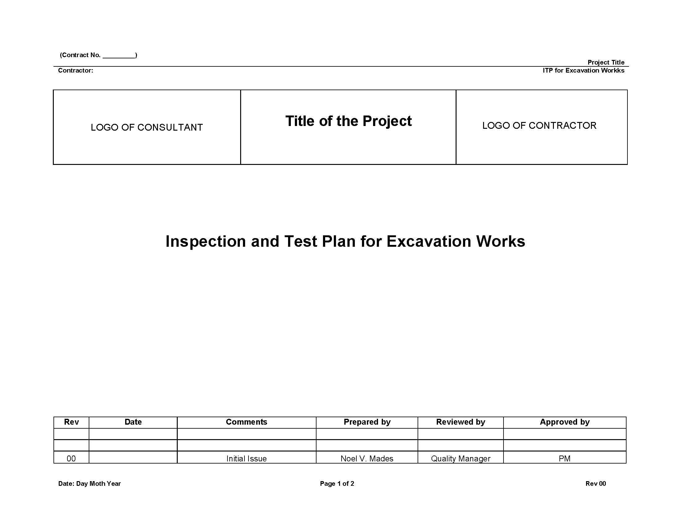 Construction Quality Assurance Plan Template