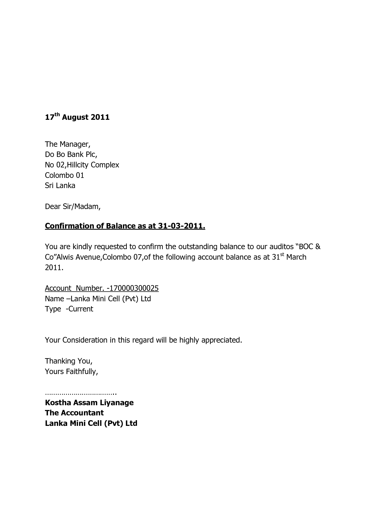 Debtors Confirmation Letter Template