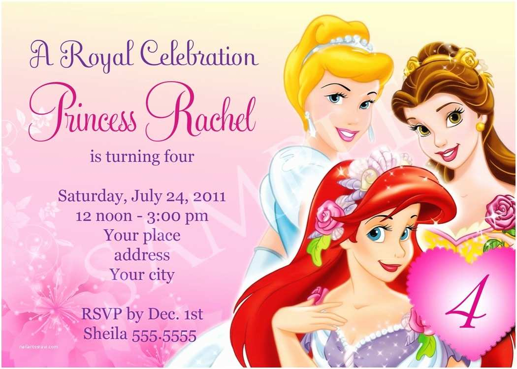 Disney Princess Party Invitations Free Birthday Party Invitation Templates