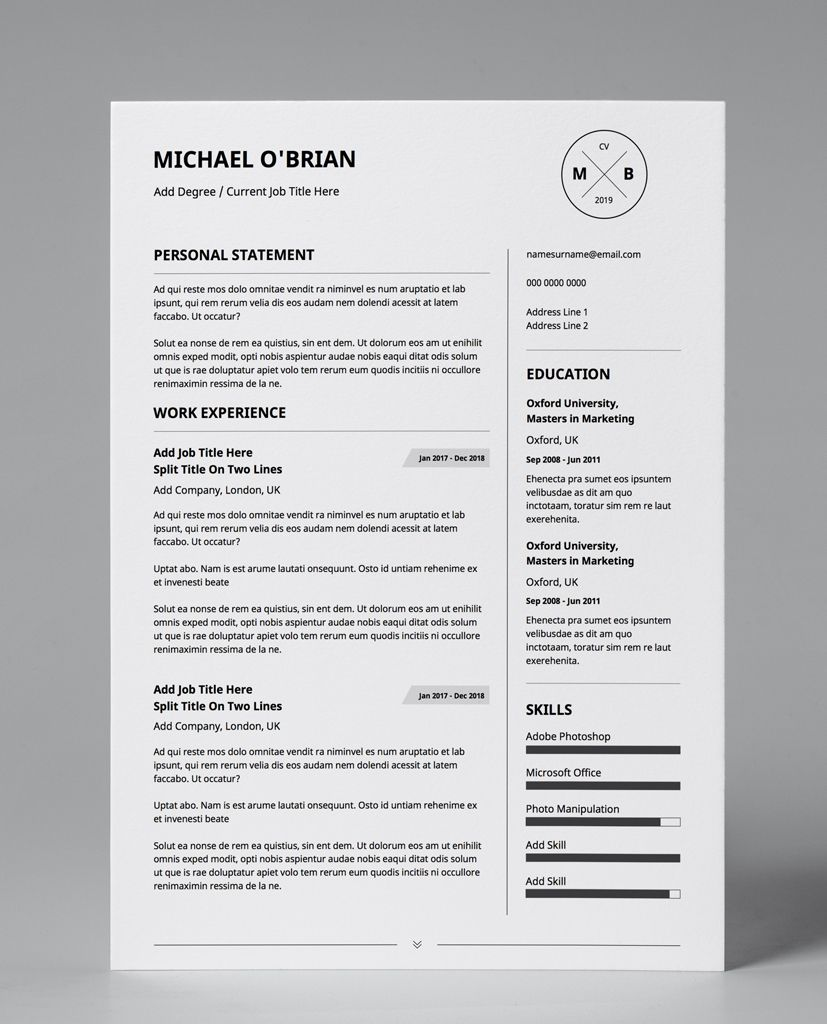 Downloadable Cv Template Pdf