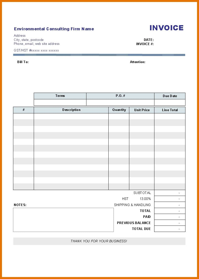 Downloadable Invoice Template Uk Word