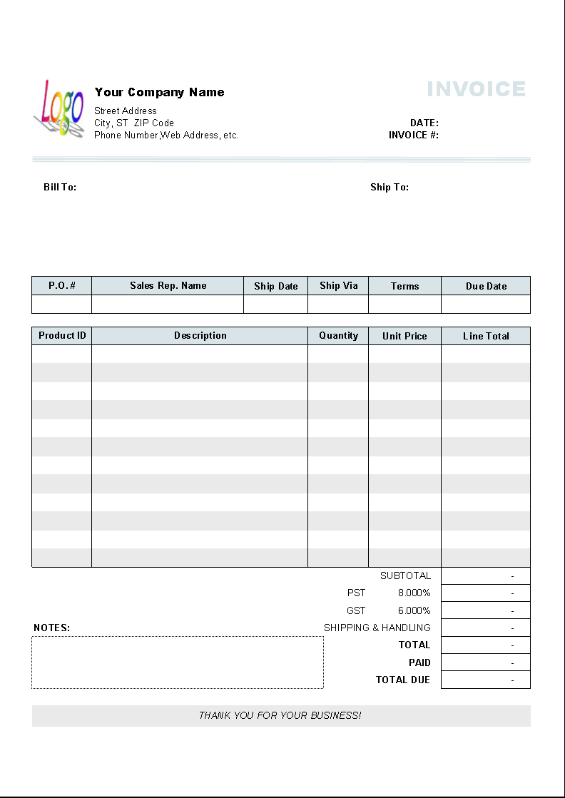 Downloadable Invoice Templates Word