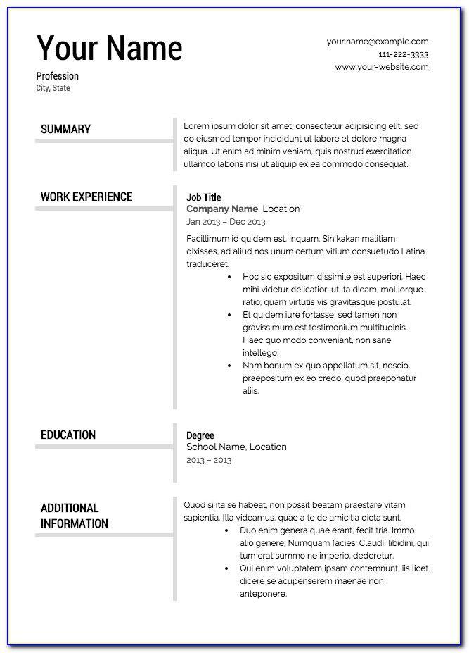 Downloadable Printable Resume Templates Free