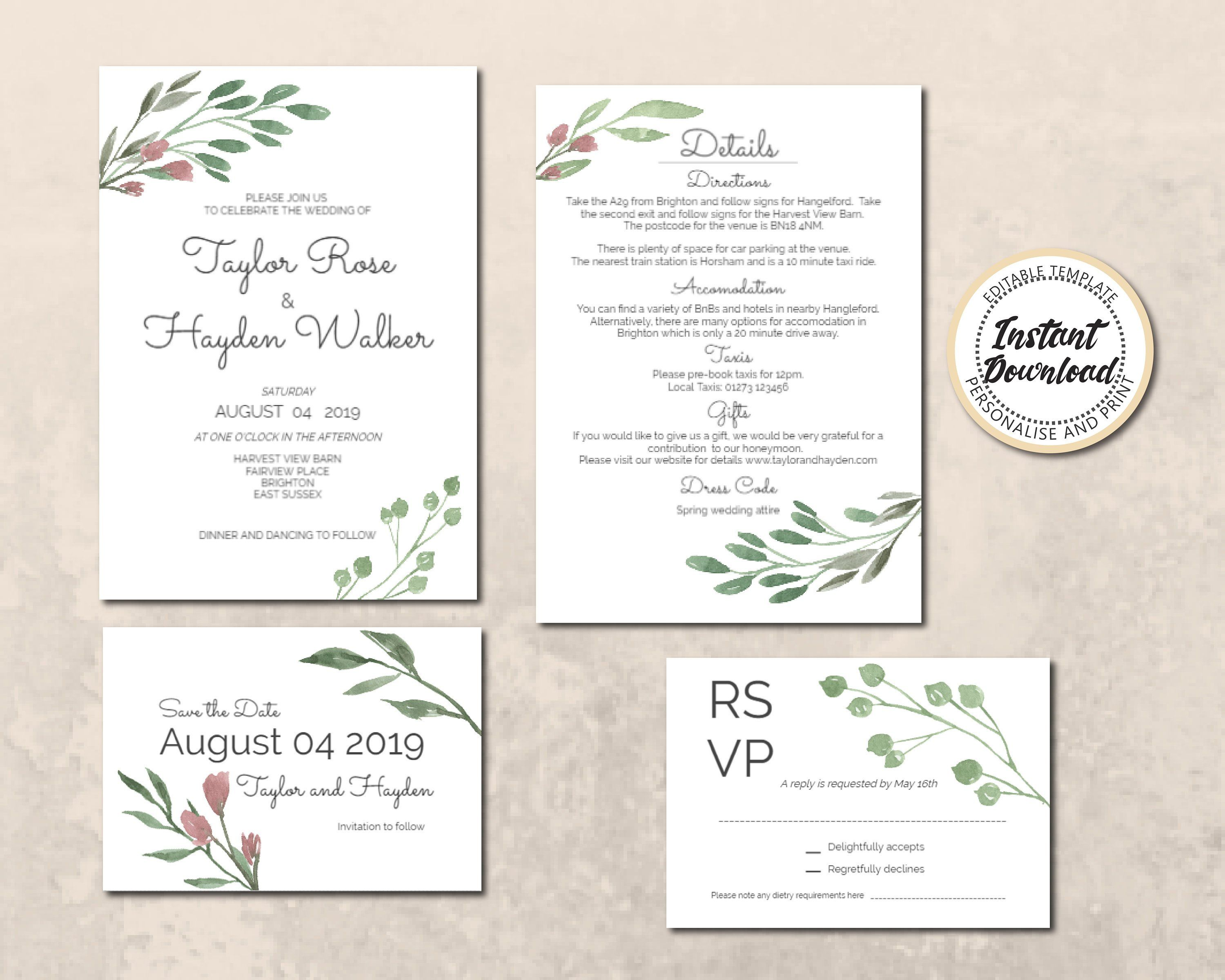 Editable Downloadable Invitation Template