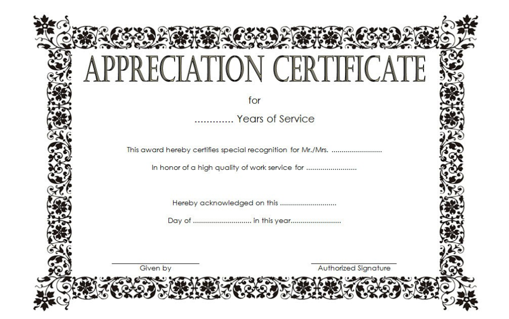 Editable Long Service Award Certificate Template