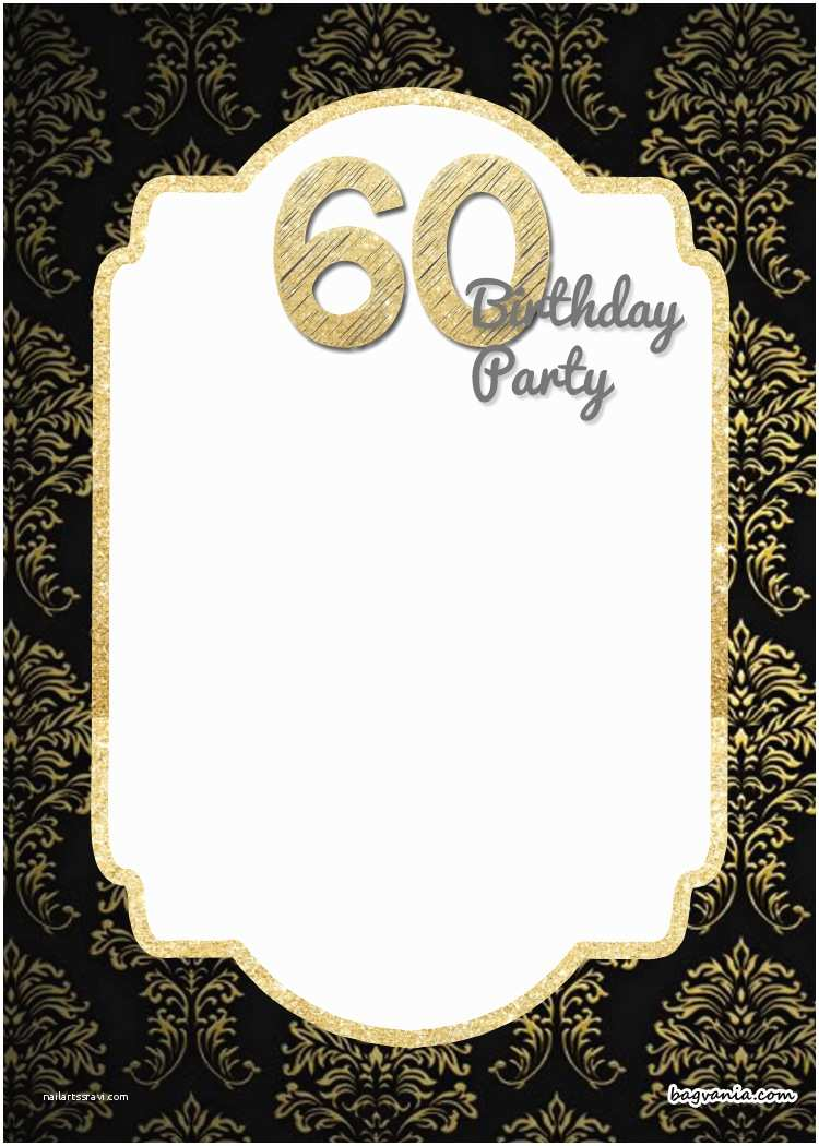 60th Wedding Anniversary Invitations Free Templates Free Printable Elegant 60th Birthday Invitation Template