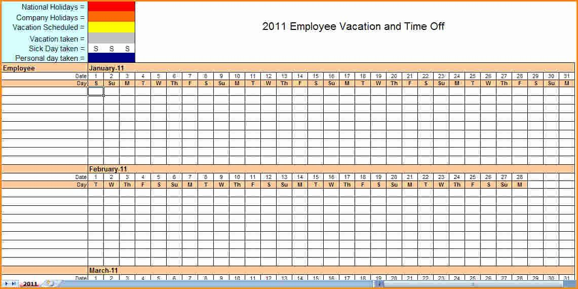 Employee Vacation Schedule Template 2020