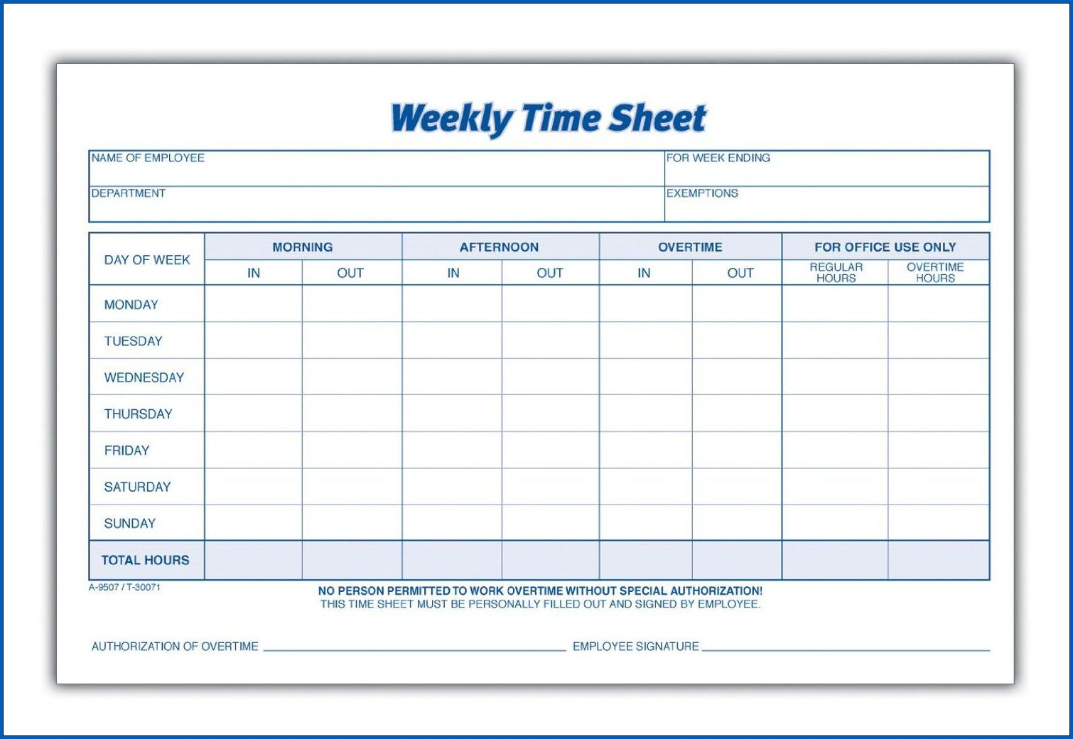 Employee Weekly Timesheet Template
