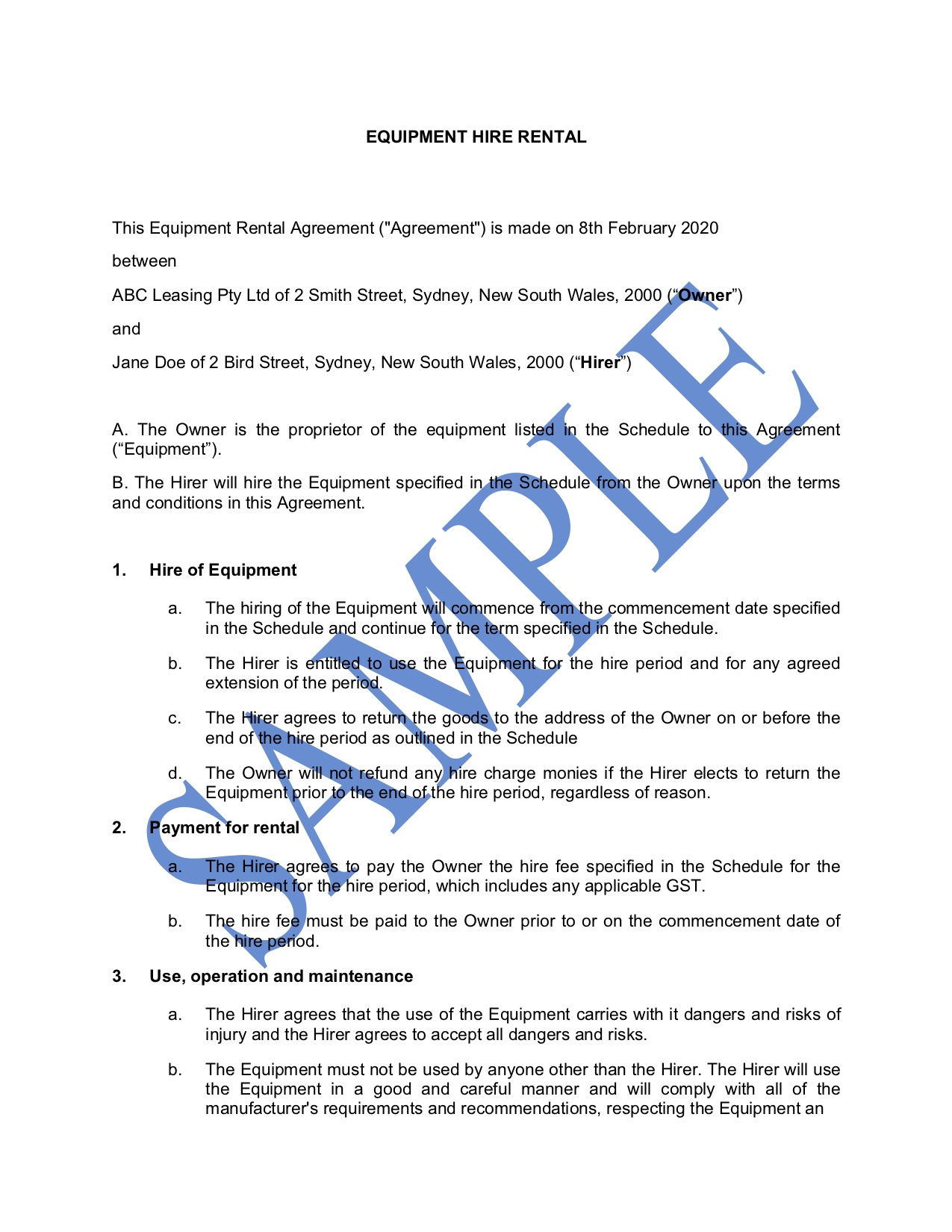 Equipment Hire Agreement Template